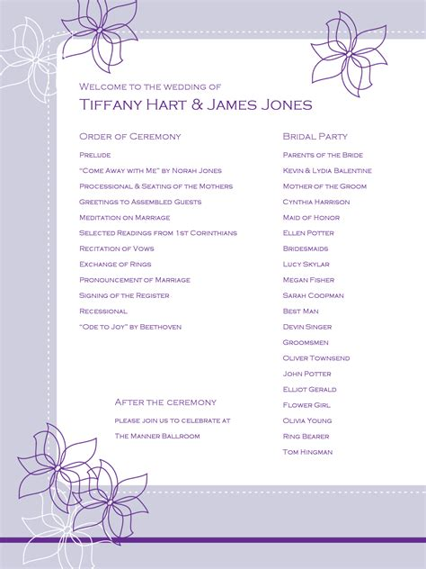 program outline template outline flower wedding program