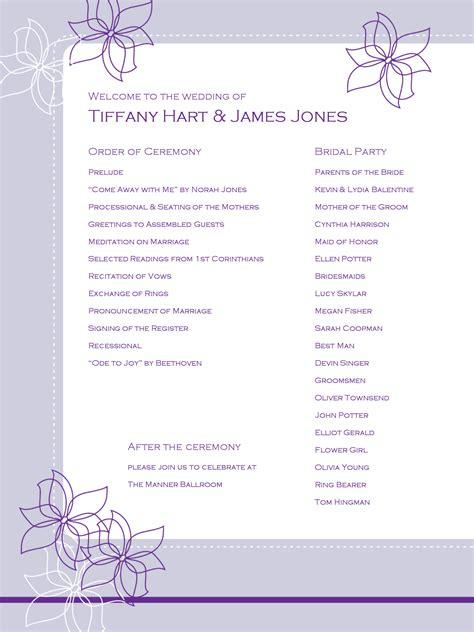 Outline Flower Wedding Program