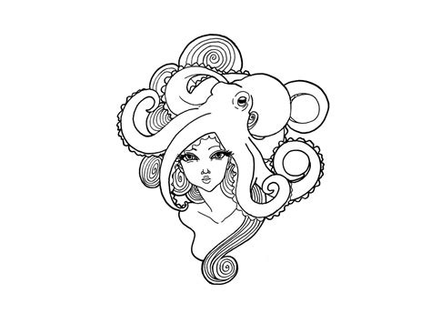 octopus tattoo girl with hair of octopus design ideas