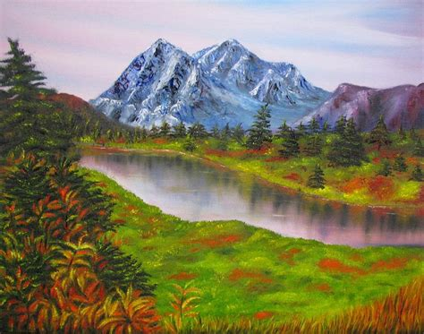 Fall In Mountains Landscape Oil Painting Painting By Mountain Landscape Paintings