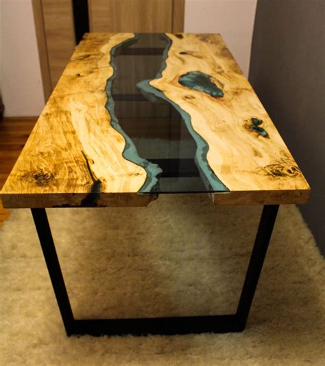 wood and resin table sold live edge river table with with blue epoxy sold