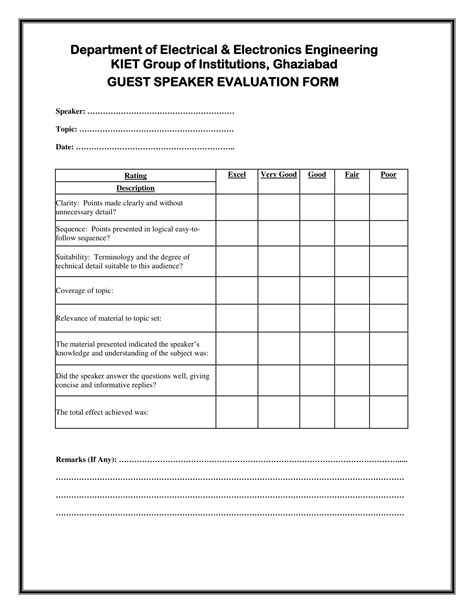 Eams Integration Tester Cover Letter by Speaker Feedback Form Sle Ideas