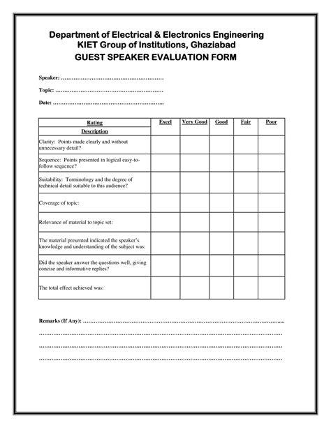 speaker evaluation form 14 speaker evaluation forms free pdf format