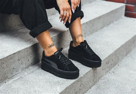 Premium Quality Fenty X Creepers By Rihanna Black Gum Sole look for the rihanna x fenty suede cleated creeper black soon kicksonfire