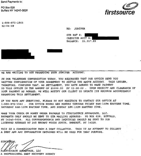 Offer Letter Of Bank Juniper Bank Sle Debt Settlement Offer Letter Leave Debt