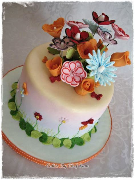 Flower Cake Decorations Ideas by You To See Vellum Styled Flower Cake On Craftsy