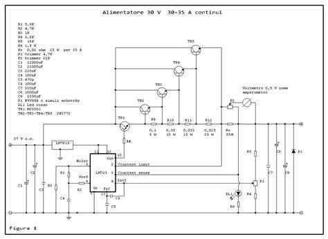 2n3055 alimentatore alimentatore stabilizzato 30v 30 35 a con lm723 isoonda