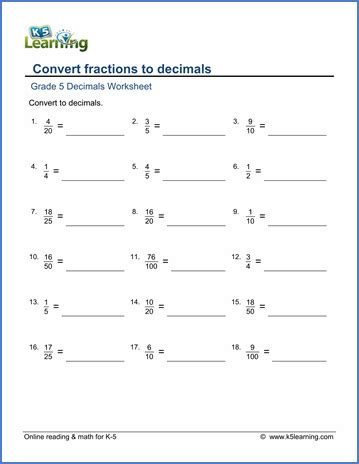 Decimals To Fractions Worksheets by Grade 5 Math Worksheet Fractions Convert Fractions To