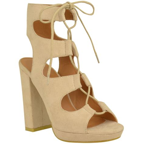 high block heel shoes new womens block high heels lace up wedge sandals