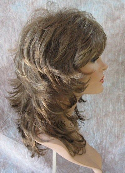 volume layered shaggy hairstyle pictures medium wig light brown dark blonde wavy multi layers