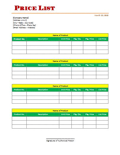 free price list template pin free printable price list template on