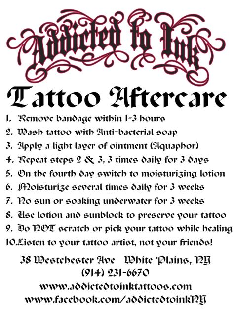 tattoo aftercare instructions addicted to ink tattoos