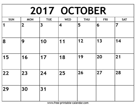 Calendar 2017 October Events October 2017 Calendar Free Printable Calendar