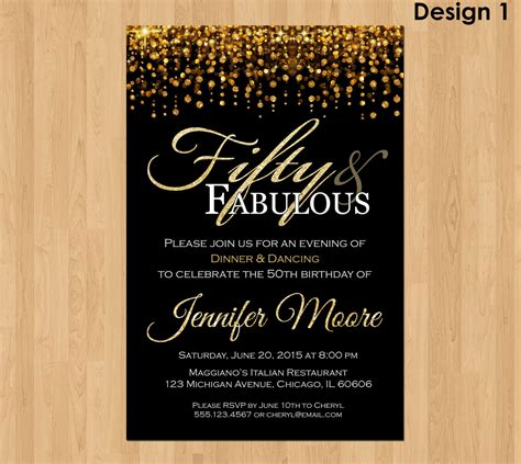 printable invitations for 50th birthday 50th birthday invitation for 50 and fabulous