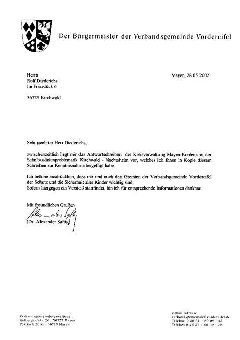 Beschwerdebrief Forderung Schulbus Net Schriftverkehr Vorflle