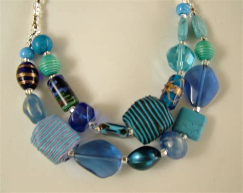 large glass bead necklace two strand necklace with a collection of large blue glass