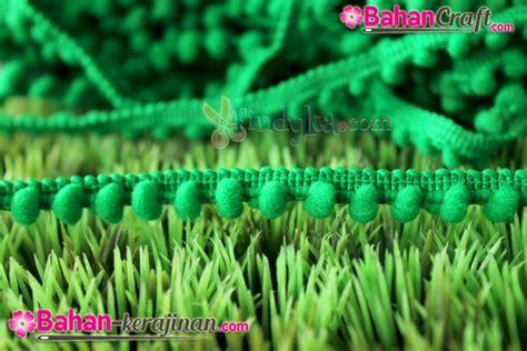 Anting Bunga Pompom Abu bahan kerajinan renda pom pom kecil hijau tua