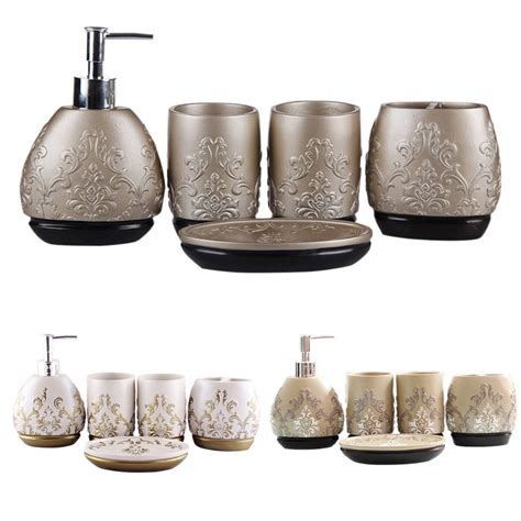 Luxury 5pcs Bathroom Accessory Set Brown White Chagne Bathroom Accessories Sets Luxury