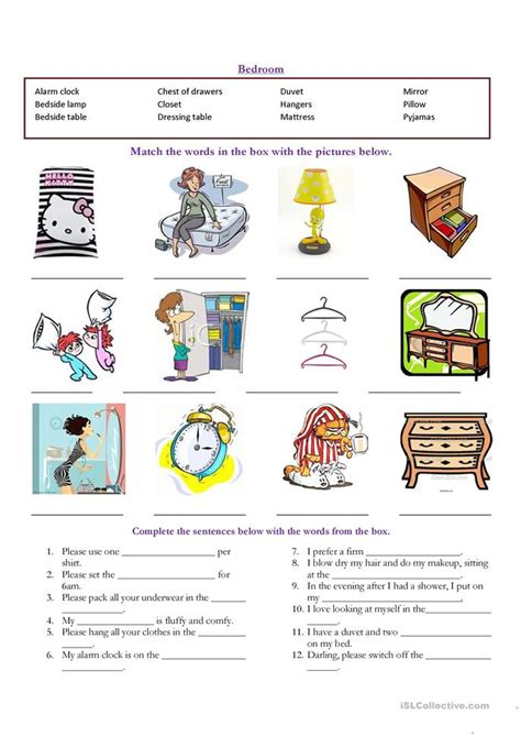 bedroom english vocabulary bedroom vocabulary worksheet free esl printable