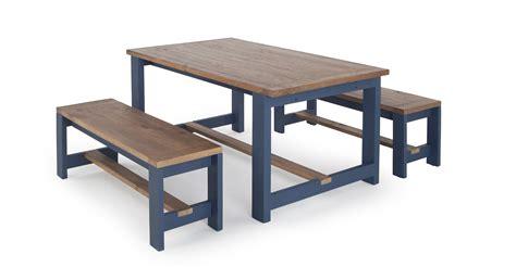 Bala Table And Bench Set Solid Wood And Blue Made Com Dining Room Table Bench Set