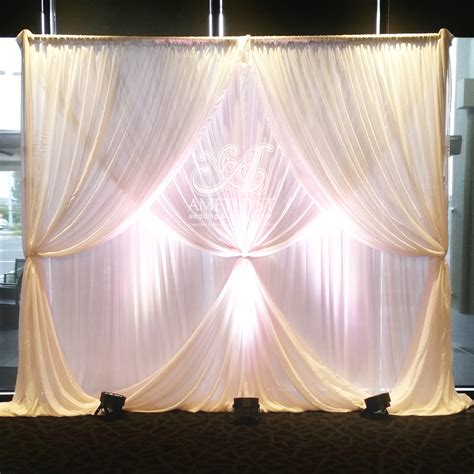 Wedding Backdrop Curtains 2 Layer Curtain Ties Wedding Backdrop With Lights Poa Amethyst Wedding Event Decor
