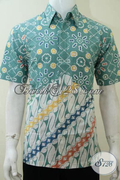 Kemeja Batik Anak Gajah Tosca batik modern pria motif pagi sore warna tosca putih keren untuk anak muda dan berjiwa muda