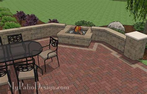 Backyard Patio Design Backyard Brick Patio Design With Seating Wall And Fire Pit