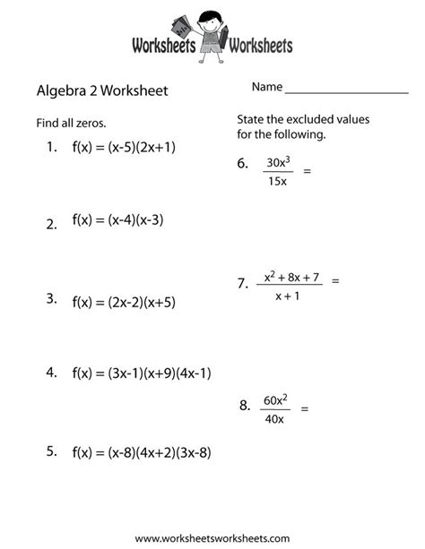 printable math worksheets kuta algebra 2 printable worksheets with answers free