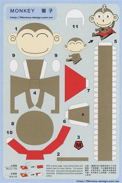 Papercraft Monkey - 435 best images about papercraft template on