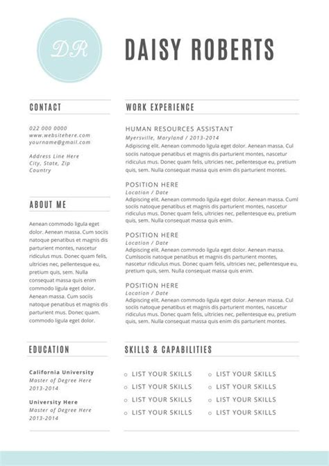 Resume Template Word Etsy 51 Best Images About Resumes Templates And Tips On Cool Resumes Free Cover Letter