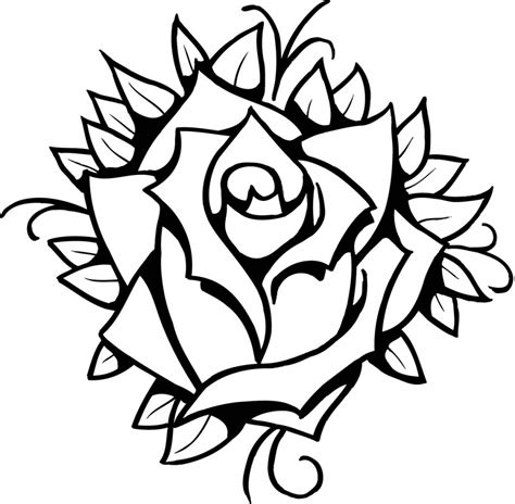 simple line drawing of a rose line drawing rose clipartsco