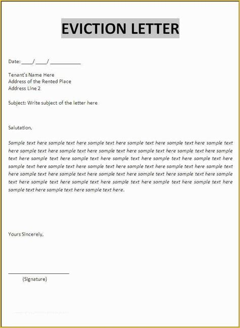 eviction notice template eviction letter template