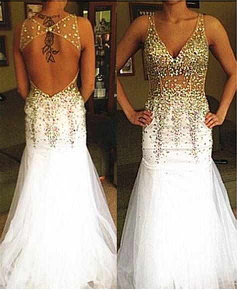 Aliexpress Buy Custom Made V Neck White Gold Beaded Prom Dress 2016 Open Back by Aliexpress Buy Custom Made V Neck White Gold Beaded Prom Dress 2016 Open Back