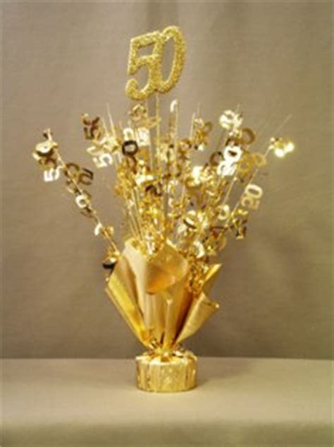 gold 50th anniversary table centerpiece
