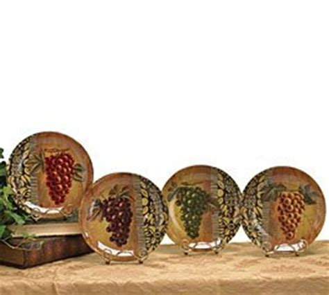 Decorative Grape Plates by Set Of 4 Decorative Glass Grape Plates With