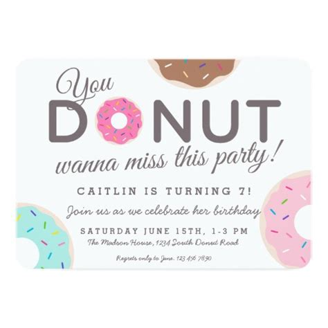Donut Party Invitations Donut Birthday Party Zazzle Donut Invitation Template