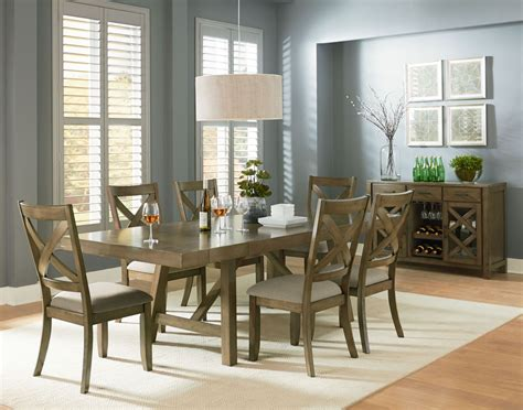 dining room set omaha weathered burnished gray extendable trestle dining