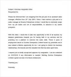 Voluntary Termination Letter Template by Sle Resignation Letter Format 14 Free Documents In Pdf Word