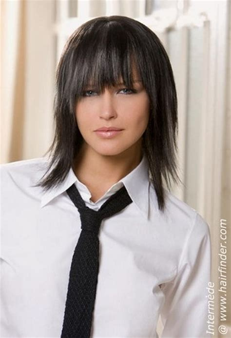 hairstyles with uneven bangs medium length choppy haircuts
