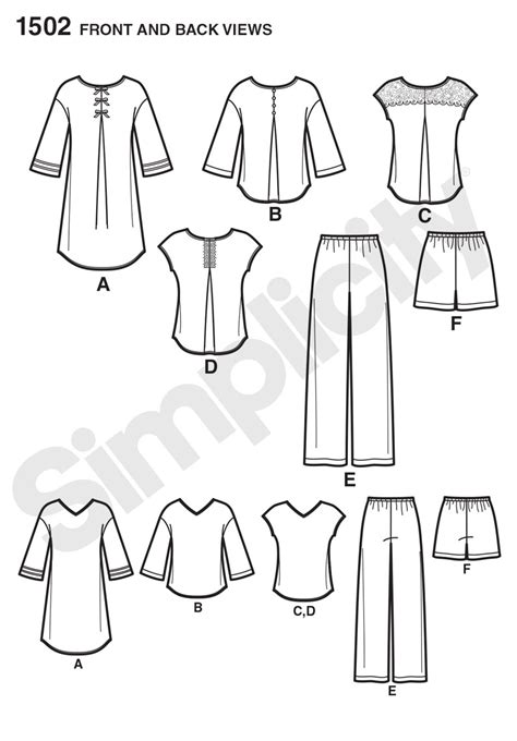 free nightshirt pattern simplicity 1502 misses pants or shorts and nightshirt or top