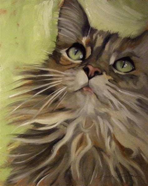 painting cats paintings from the fluffy maine coon type cat