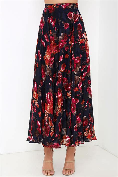 navy blue floral print skirt maxi skirt high waisted