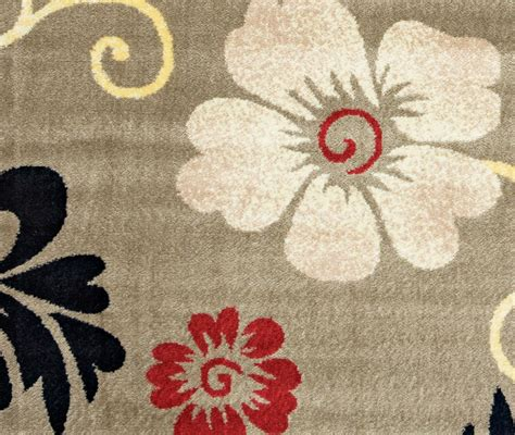 Bay Side Simple Floral Area Rug In Grey Ivory Black Red 5 Simple Area Rugs