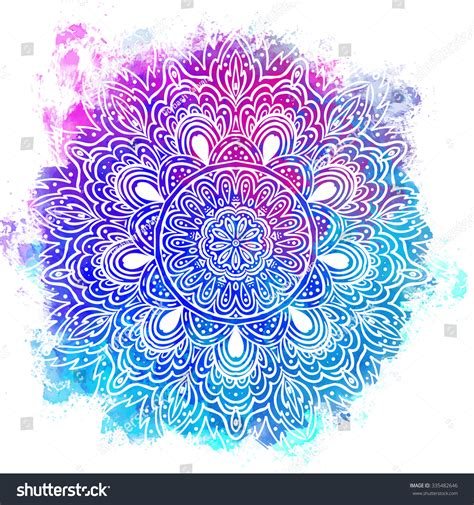 mandala over colorful watercolor beautiful vintage stock