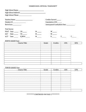 High School Transcript Template Fill Online Printable Fillable Blank Pdffiller Free Homeschool Transcript Template