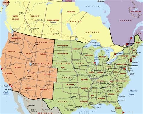 map of states in usa and canada canada us map with cities
