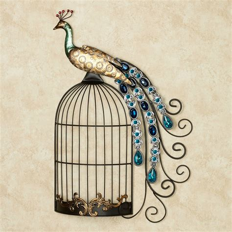 Peacock Wall Decor by Peacock Jewels On Cage Metal Wall
