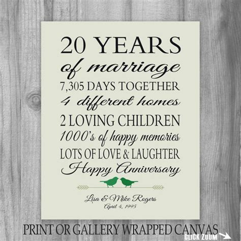20th Wedding Anniversary Quotes For From Husband by 20th Anniversary Gift 20 Year Anniversary By Printsbychristine
