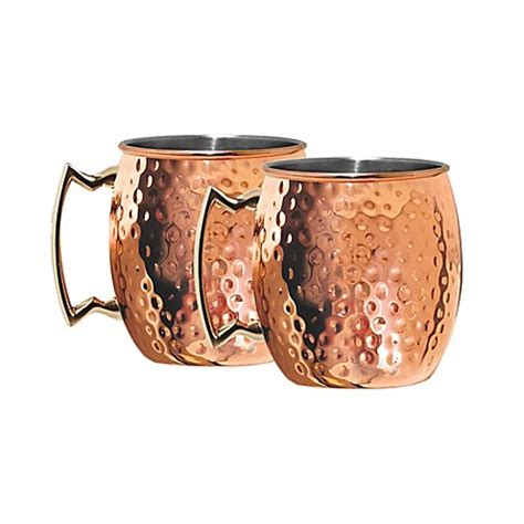 bed bath and beyond farmingdale hammered moscow mule mugs in coppertone stainless steel