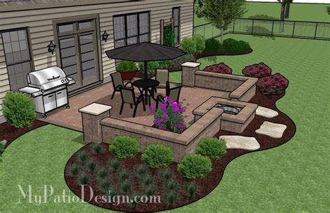 Patio Plans And Designs Pit In Seating Wall Patio Tinkerturf